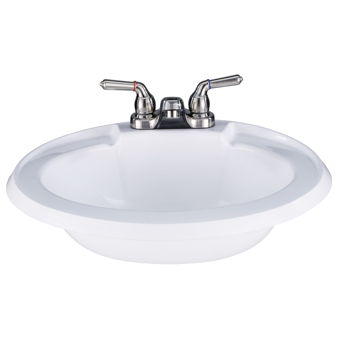 Sinks: White Oval RV Bathroom Sink w/ Brushed Nickel Faucet Combo